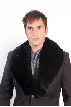 Black rex fur collar for men