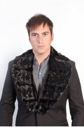 Black mink fur collar for men