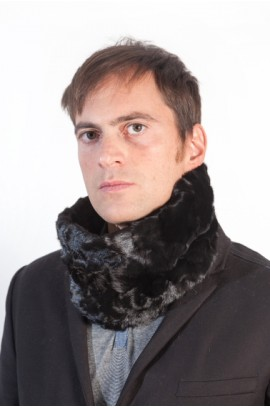 Black mink fur neck warmer - unisex