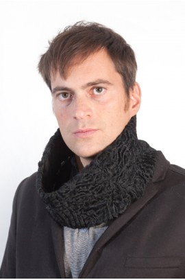 Black karakul fur neck warmer for men