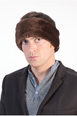 Beaver fur headband for men