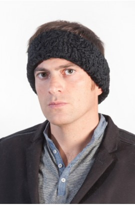 Black Karakul fur headband for men