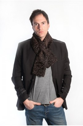 Dark brown karakul fur scarf for men