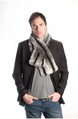 Rex chinchilla fur scarf - horizontal - unisex