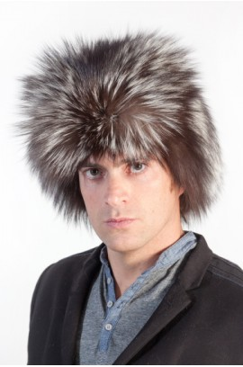Silver fox fur hat for men
