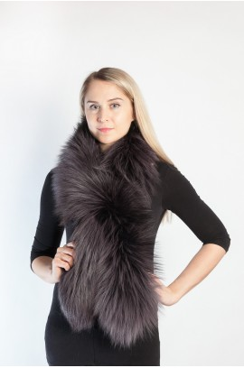 Dark blue fox fur scarf