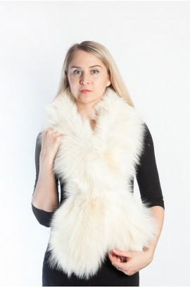 White cream fox fur scarf