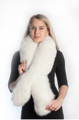 Natural White fox fur scarf
