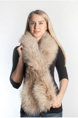 Platinum fur scarf - cream coffee
