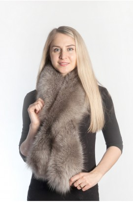 Grey fox fur scarf