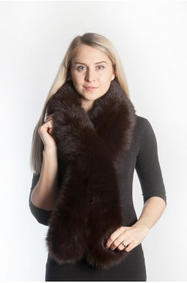 Dark brown fox fur scarf