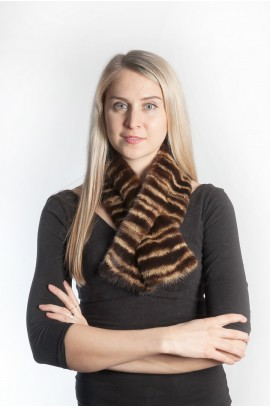 Mink fur scarf striped
