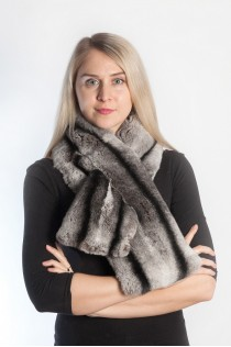 Rex Chinchilla Fur Scarf - horizontal