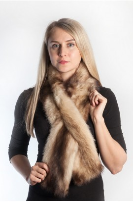 Polar polecat fur scarf - cream