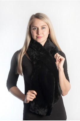 Rex fur scarf - black