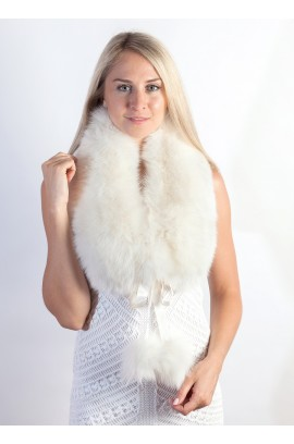 White fox fur scarf with pom poms