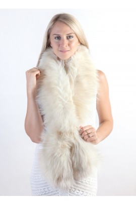 White-cream fox fur scarf