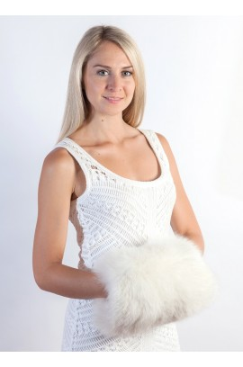 White fox fur hand muff - hand warmer