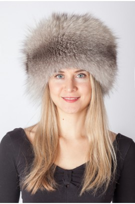 Dark grey fox fur hat