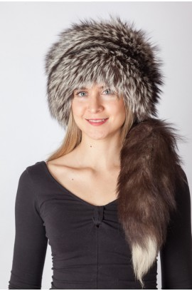 Silver fox fur hat with tail
