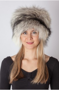 Shadow blue frost fox fur hat