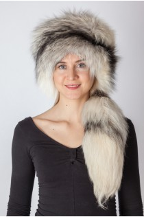 Shadow frost fox fur hat with tail