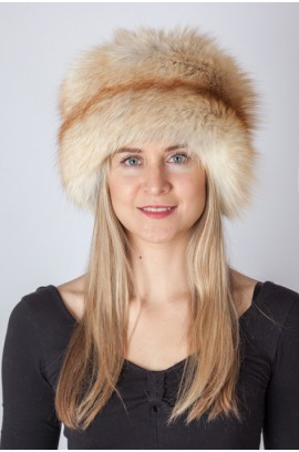 Platinum gold fox fur hat