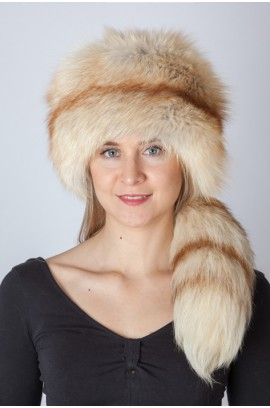 Platinum gold fox fur hat with tail