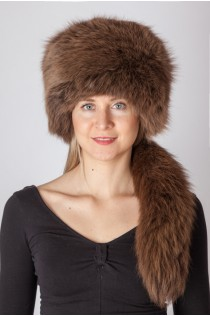 Brown fox fur hat with tail