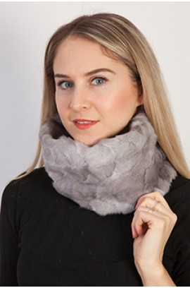 Grey sapphire mink fur neck warmer - Created with mink fur remnants