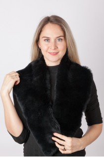 Black rex rabbit fur collar
