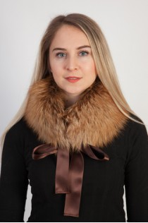 Golden fox fur collar, neck warmer