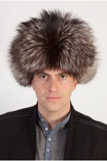 Silver fox fur hat - Russian style