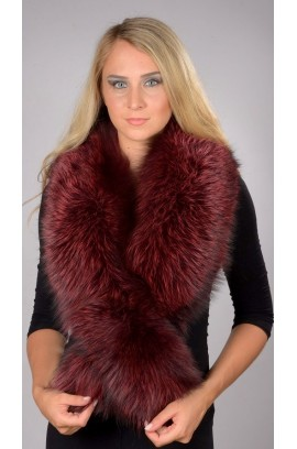 Red-cherry fox fur collar - Neck warmer