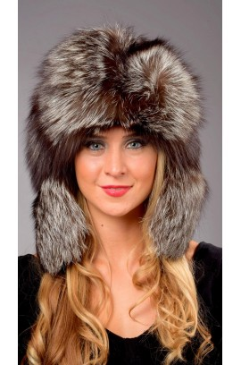 Silver fox fur hat - Russian style Woman