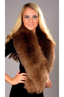 Brown fox fur collar - Neck Warmer