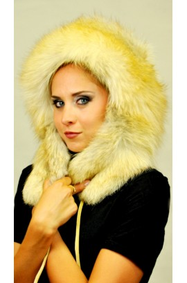Golden fire fox fur hat
