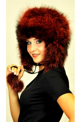 Red-cherry raccoon fur hat Ushanka