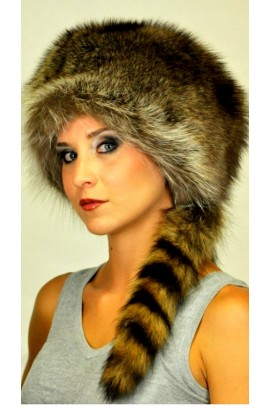 Coonskin Cap - Real Raccoon fur hat with tail