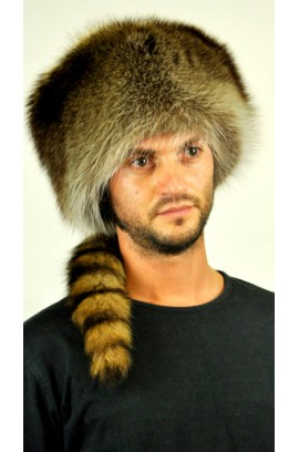 Coonskin Cap - Raccoon fur hat with tail