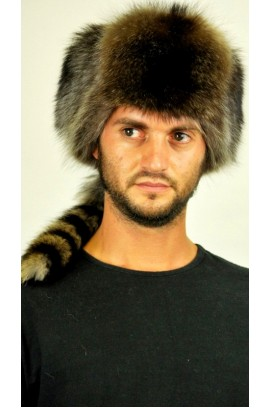 Raccoon fur hat - Russian style with tail