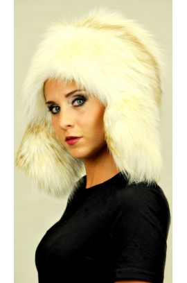 Arctic fire fox fur hat Ushanka