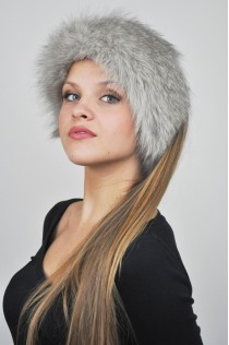 Grey Fox fur headband - Fur collar