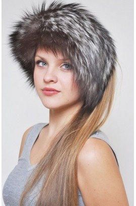 Silver fox fur headband - Fur collar