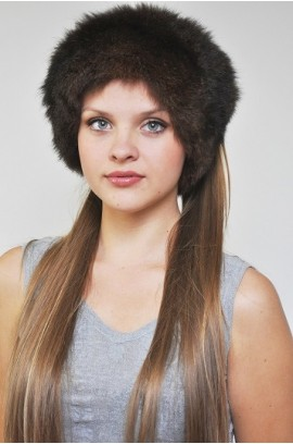 Possum fur headband - Fur collar brown