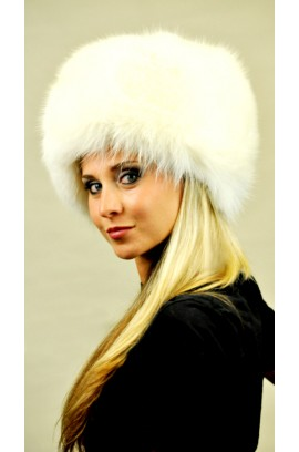 White fox fur hat