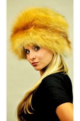 Golden fox fur hat
