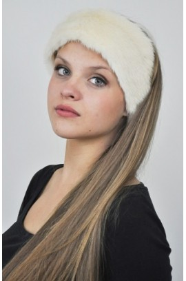 White mink fur headband - Fur collar