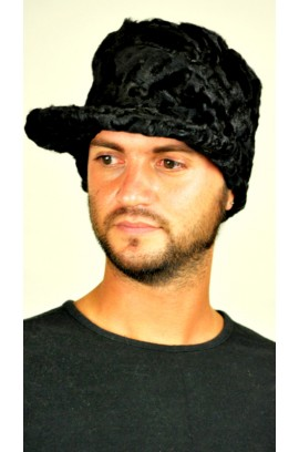 Karakul fur hat with visor