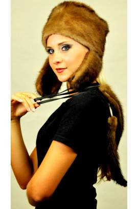 Mink fur hat Ushanka, with 2 real tails